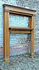 Victorian Antique tall Oak Fireplace mantle with pillars and mirrored back