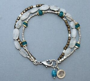 Moonstone Apatite Gem Mix Brass 925 Silver Triple Strand Bracelet Handcrafted