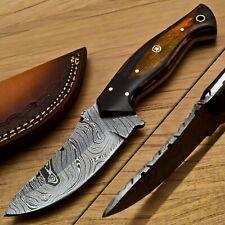 "8.0"" Hunting Knife Damascus Steel Blade & Pakka Wood Handle"