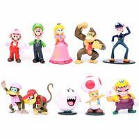 10 pcs set Super Mario Bros Peach Toad Luigi Yoshi Action Figure Cake Topper Toy