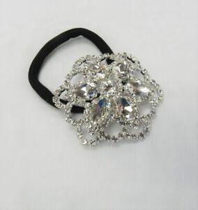 Rhinestone Crystal Flower Ponytail Holder Hair Elastic Hair Tie Wedding Prom