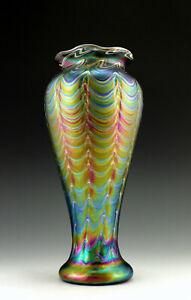 Glamorous Bohemian Vase Art Nouveau Jugendstil Iridescent Art Glass Tall 10''