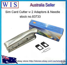 Mobile Phone SIM Card Cutter w 2 Adaptors & Needle for iPhone5 iPad,NDS,PSP,S/S