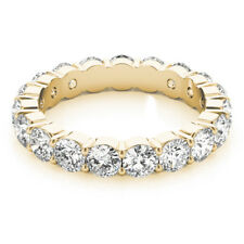 Color E-F Clarity VS1 4.00 Ct Natural Diamond Band 18K Gold Womens Eternity Ring