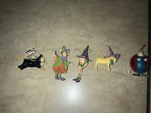 Patience Brewster Krinkles Halloween ornaments Set of 5
