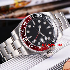 Parnis 43mm Black Red Ceramic Bezel Sapphire Glass GMT Automatic Date Mens Watch
