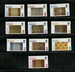 B541  Brunei  1988  hand woven textiles  10v.      MNH