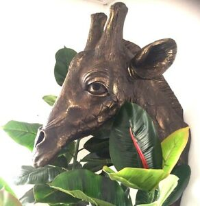 Giraffe Bust Head Interior Design Conservatory Summer House Statue Bronze Effect