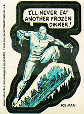 MARVEL SUPER HEROES 1976 STICKER CARD ICE MAN