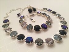 Swarovski Crystal Elements Purples W Antique Silver Cup Chain 12mm Jewelry Set