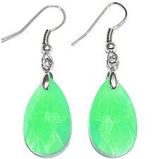 Teardrop Faceted Crystal Glass Bead Pendant Dangle Earrings Ear Hooks Earwires