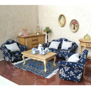 7pcs Miniature Wood Sofa Couch Cushions Set For 1/12 Dolls House Furniture