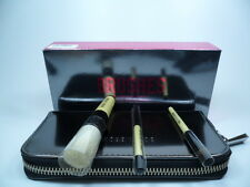 CHROME BOBBI BROWN MINI BRUSH SET 3 BRUSHES + MINI BRUSH CASE  BRAND NEW IN BOX