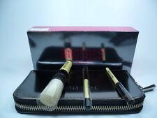 CHROME BOBBI BROWN MINI BRUSH SET 3 BRUSHES + MINI BRUSH CASE  BRAND NEW IN BOX