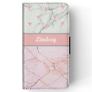 Personalised name pink white marble effect design wallet flip phone case cover
