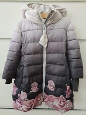 Monnalisa Girls Grey Pink Floral Hooded Jacket coat Size 3