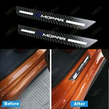 For MOPAR Carbon Car Rear Door Welcome Plate Sill Scuff Cover Decal Sticker 2PCS