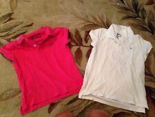choice 1 RALPH LAUREN POLO Shirt Girls Sz M pink or L white  SS Top GOLF TOP euc