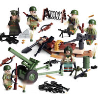 6pcs WW2 Military US Soldier Figures Building Blocks with Weapons Toys Bricks