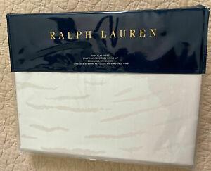 NEW Ralph Lauren King Flat Sheet Olivia Mirada Cotton Sateen Cream $185