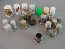 THIMBLE HAND SEWING FINGER PROTECTOR BRASS PORCELAIN PLASTIC BAND VINTAGE LOT 21