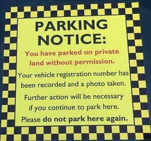 Private Parking Ticket Warning Sticker / Notice for Windscreen - Waterproof