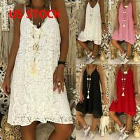 Plus Size Women Plain Lace Strappy Dress Ladies Summer Casual Beach Sundress US