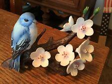 Andrea by Sadek 7669,Indigo Bunting signed Bird Figurine on Flowered Branch 1986