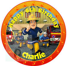 FIREMAN SAM CAKE TOPPER 7.5 INCHES ROUND PERSONALISED EDIBLE ICING PRINT
