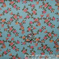 BonEful FABRIC FQ Cotton Quilt Blue White Pink Yellow VTG Flower Cottage Garden