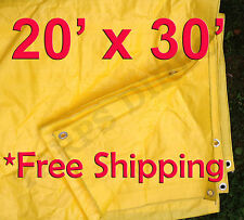 20' x 30' High Visibility Yellow Poly Tarp - 3.3 Oz.
