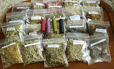 Witches starter set Pagan spell kit 20 herbs resins ingredients & 4 candles