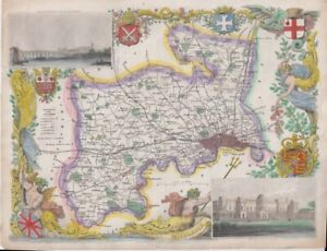 1842 Very Decorative Moule Map of Middlesex
