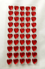 50 x 10mm Self Adhesive Rhinestones Diamante Hearts Craft Wedding Scrapbook Gems