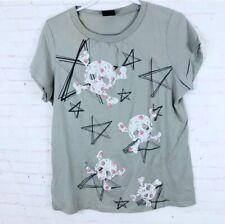 Torrid Women's Plus Size 1 Gray Short Sleeve Skull Print Graphic T-Shirt Top