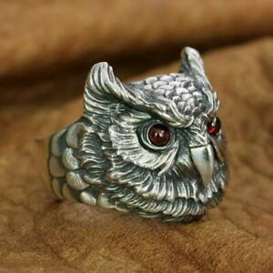 LINSION 925 Sterling Silver Red Eyes Owl Ring Mens Womens Ring TA261A US Size 10