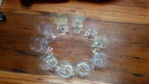 Clear Unicorn   CARNIVAL GLASS   10 PIECE Set   6.5 Inch Wine Glasses