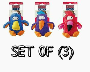 KONG DODO BIRDS - SET OF (3) Medium Plush Dog Toys - Assorted Colors SQUEAKS