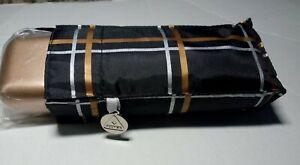 Black with gold & silver check , micro Umbrella by Fulton.