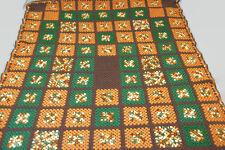 Vintage Granny Square Afghan Blanket Throw Crochet Multi-Color Large 70 x 55