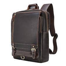 """Vintage Real Leather Backpack Travel 16"""" Laptop Satchel Daypack Book School Bag"""