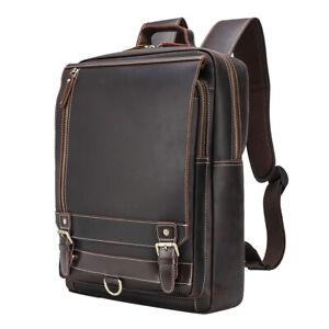 "Men Full Grain Leather 16"" Laptop Backpack Travel Bag Satchel Daypack School Bag"