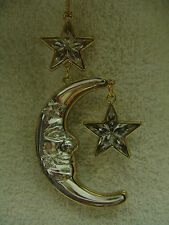 VINTAGE ACRYLIC HALF MOON WITH 2 STARS CHRISTMAS ORNAMENT WITH GOLD TONE TRIM