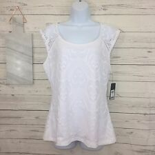 NWT Guess Blouse XL White Lexi Lace Top Sleeveless Summer