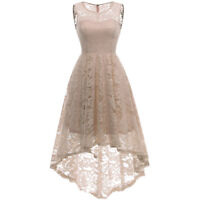 Women Vintage Floral Lace Sleeveless Bridesmaid Wedding Hi-Lo Swing Dress