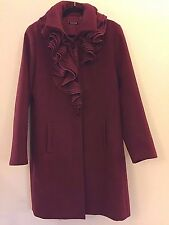 Tahari Cranberry Red Ruffle Collar Dress Coat L Calf Length Lined Button Front