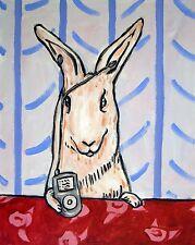 bunny rabbit art PRINT poster gift JSCHMETZ modern folk 13x19 i pod