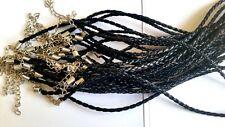 Lot 10 de Cordon en Cuir Noir torsadé Neuf  50 cm avec chaînette