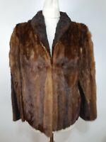 Vintage 1950's Real Fur Coat Brown Fox Mink Striped Lined Current Size 10