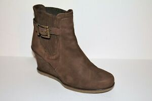 UNISA Brand Brown Suede Leather Wedge Ankle Boots Size 37 LIKE NEW